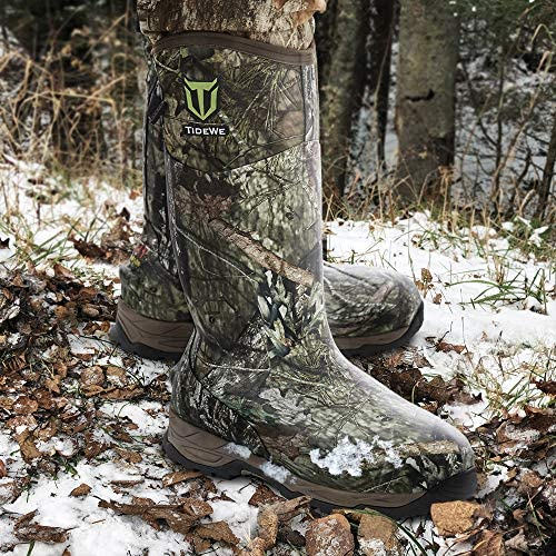 TIDEWE Rubber Hunting Boots with 800g Insulation, Waterproof Insulated Realtree & Mossy Oak Camo Warm Rubber Boots with 6mm Neoprene, Durable Outdoor Muck Hunting Boots for Men (Size 5-14)