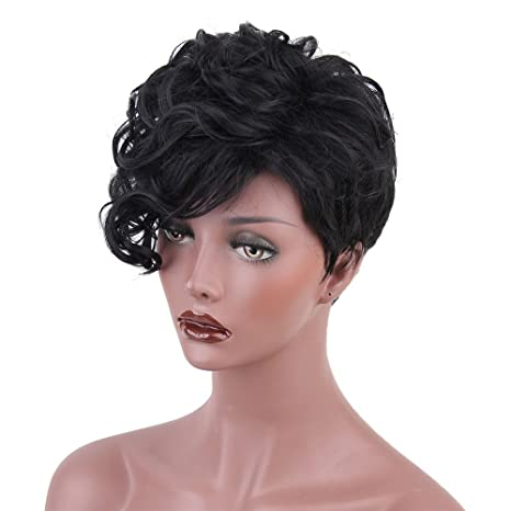 Amazon.com: Pelucas de pelo humano corto rizado para mujeres ...