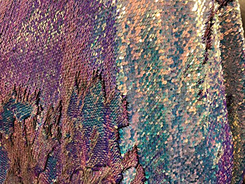 Mermaid Sequins Fabric Reversible 2 Way Stretch - Iridescent/Aqua - Multi-Color Iridescent Sequins Fabric Sold by The Yard ()