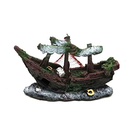 fangfei Fish Tank Ornamento del Ornamento del Acuario naufragio del Barco de Navegación del Barco hundido