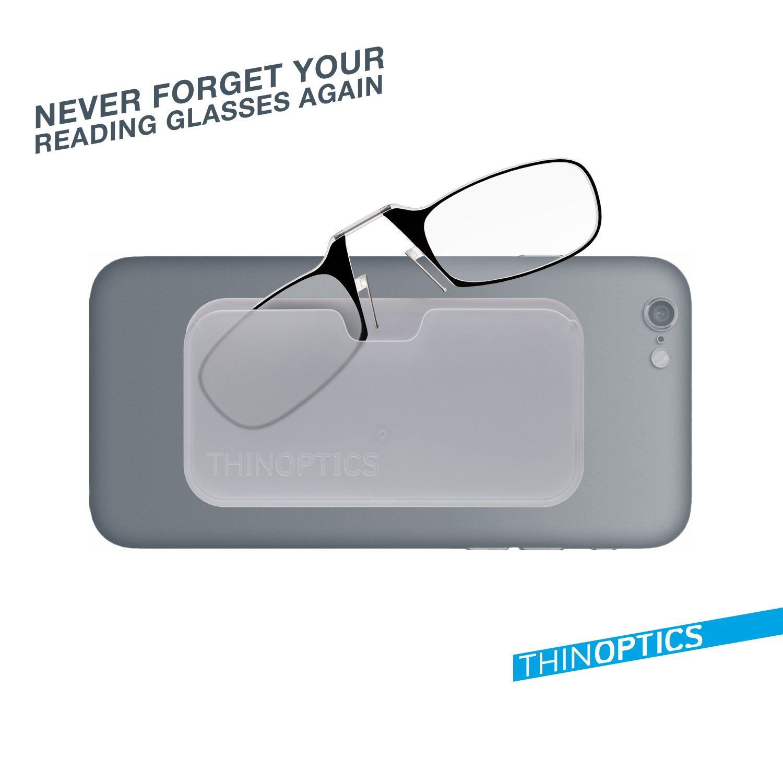 ThinOPTICS Reading Glasses + White Universal Pod Case | Classic Collection, Black Frames, 1.00 Strength,