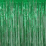 Anhoo 3.2 ft x 9.8 ft Metallic Tinsel Foil Fringe Curtains for Party Photo Backdrop Wedding Event Decoration (Green,3 pcs)