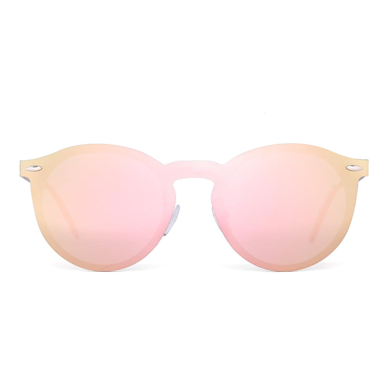 Jim Halo Gafas de Sol Polarizadas Sin Montura Una Pieza Reflexivo Redondas Espejo Anteojos Hombre Mujer CLX0010 C8