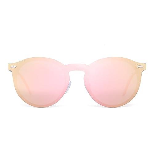 Jim Halo Gafas de Sol Polarizadas Sin Montura Una Pieza Reflexivo Redondas Espejo Anteojos Hombre Mujer