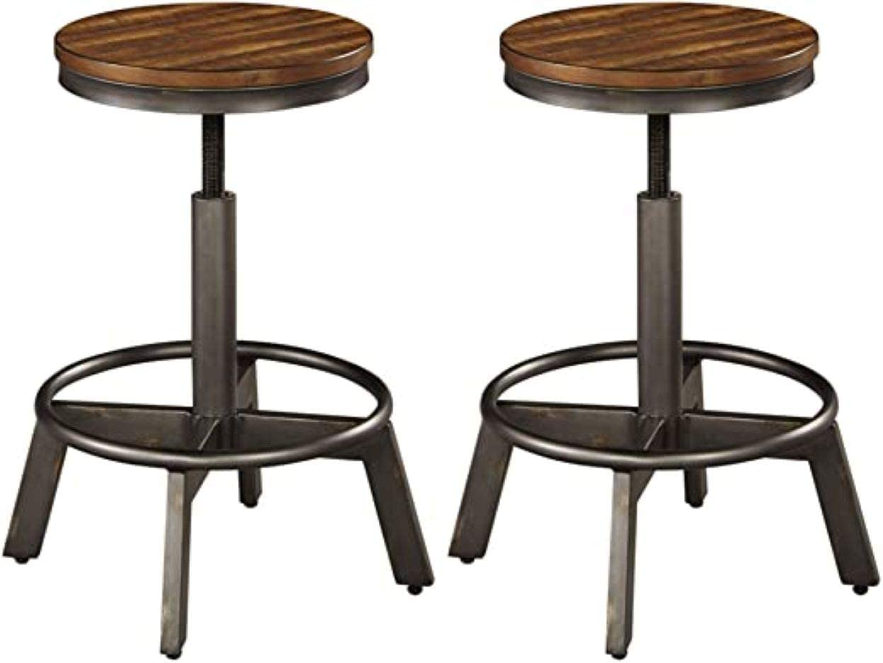 Signature Design by Ashley Torjin Adjustable Height Bar Stool, Brown Gray