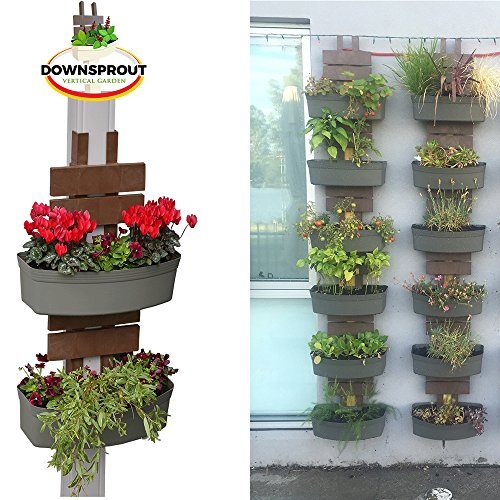 Downsprout Vertical Planter, Gutter Garden, Post Planter, Pergola Post Planter, Deck Planter, Living Wall (Gray 2-pack)