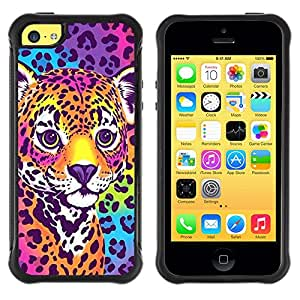 King Case@ Cheetah Panther Blue Electric Fur Colors Rugged hybrid Protection Impact Case Cover For iphone 5C CASE Cover ,iphone 5C case,iphone5C cover ,Cases for iphone 5C