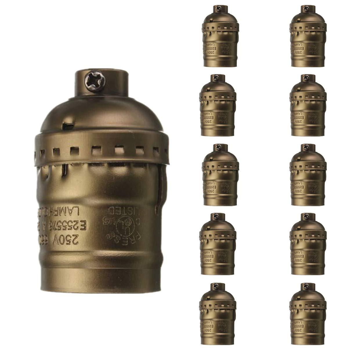 10pcs Vintage Aluminium Lamp Holder, Motent Industrial Retro Solid Metal Shell Socket Without Switch, US Standard E26 Edison Medium Screw Bulb Base, 33mm Dia for Pendant Light Wall Lamp - Bronze