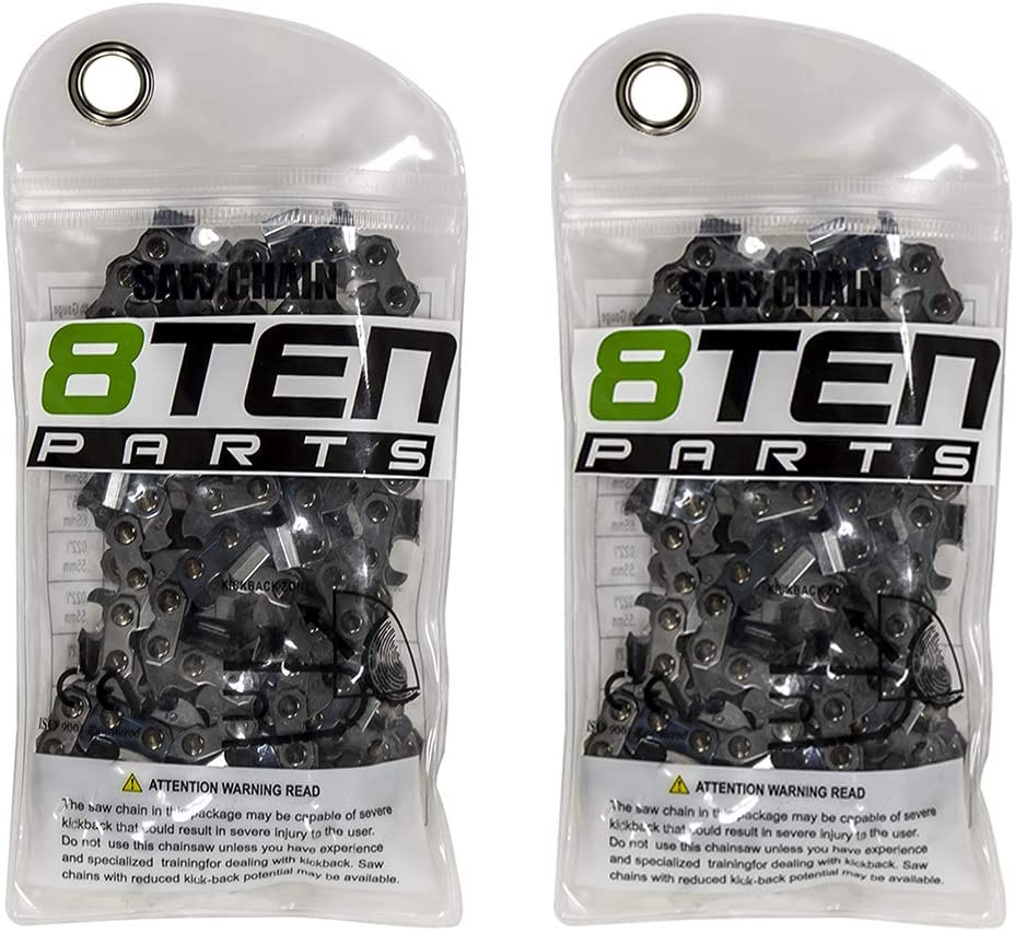8TEN Chainsaw Chain 18 Inch .050 3/8 62 Drive Links for Husqvarna Echo Poulan Stihl Replaces 91PXL062G 91PX62CQ (2 Pack)
