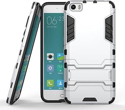 Xiaomi Mi 5 Funda Case, Moonmini® 2 en 1 Armour Estilo Duro de Doble Capa de Armadura Defender Hard Funda con Soporte para Xiaomi Mi 5, Plata: Amazon.es: Electrónica