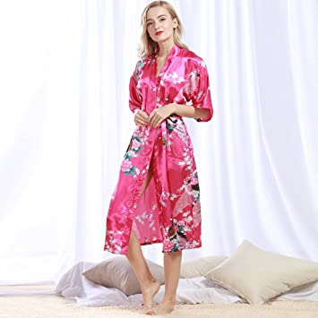 Albornoces GAOLILI Seda y otoño de Seda de Mujer Sexy camisón Largo Pijama Verano Batas de casa Desgaste del hogar (Color : A, Tamaño : XXXL): Amazon.es: ...