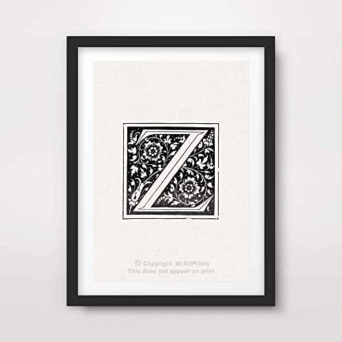 Amazon Com Z Letter Initial Art Print Poster Ornate