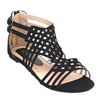037d17b55f9 BESTON GB38 Women s Double Buckles Gladiator Flat Sandals About One Size  Large