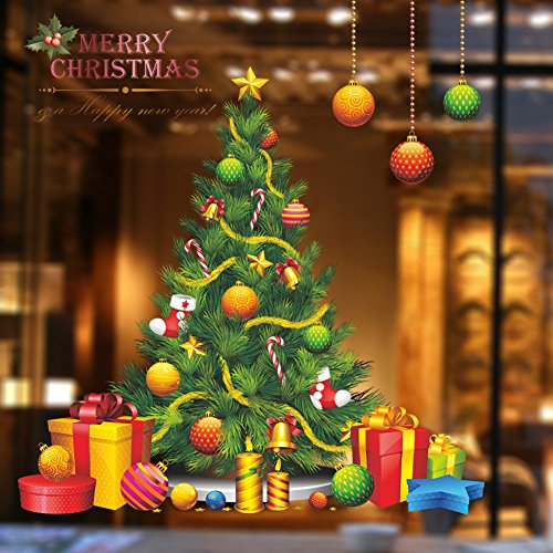 MLM Merry Christmas Bells Gifts Socks Wall Decals Christmas Tree Shop Window Removable Wall Stickers Shop Window Decorations Murals Removable DIY Home Decorations Art Décor