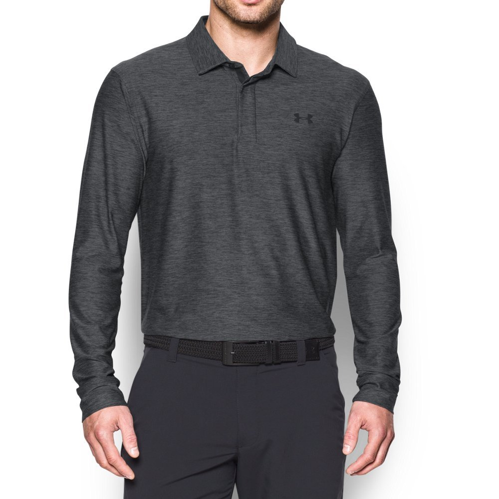 Under Armour Men's Playoff Long Sleeve Golf Polo, Carbon Heather/Black, Small