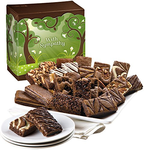 Fairytale Brownies Sympathy Sprite 24 Gourmet Food Gift Basket Chocolate Box - 3 Inch x 1.5 Inch Snack-Size Brownies - 24 Pieces