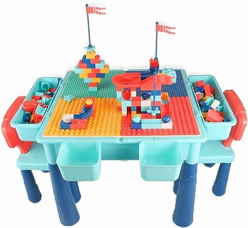 Mesa de Juego Mesa De Juegos para Niños Mesa De Estudio Mesa De Construcción Multifunción Juguetes Educativos Juguetes De Ensamblaje Regalos para Niños (Color : Blue, Size : 52.5 * 52.5 * 43cm): Amazon.es: Hogar