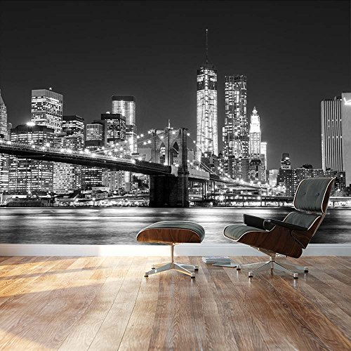 Black and white Manhattan Skyline and Brooklyn Bridge Landscape Wall Mural