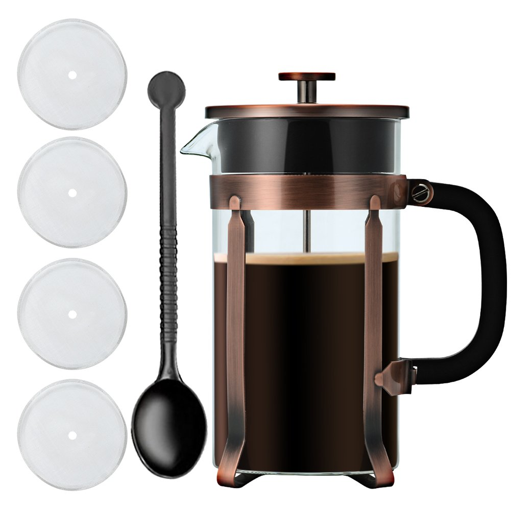 Adeeing 8-Cup French Press Coffee Maker, 34 Onze, Stainless Steel