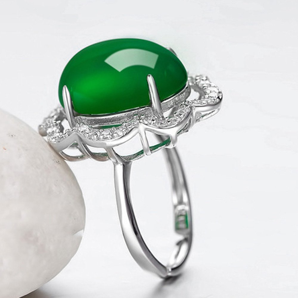 HUAMING Green Chalcedony Inlaid Zircon Ring Fashion Adjustable Jewelry for Women Noble Luxury Ring Unique Wedding Ring