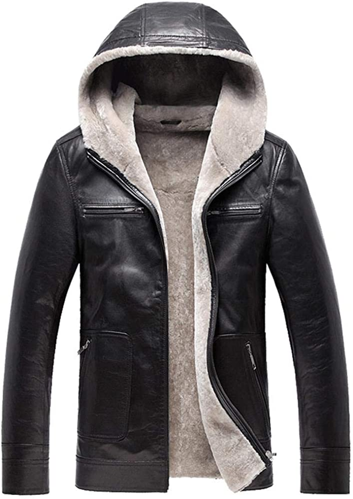 NIEYA Herren Lederjacke Mantel Winterjacken Für Männer Jacke Mit Kapuze Kragen Ledermäntel