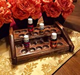 Essential oil bottle rack / holder, handmade storage organizer for 26 EO bottles, wood 2 tier shelf display for oils, patent pending flexible bottle design holds both 5ml and 15ml bottles! 4 colors!