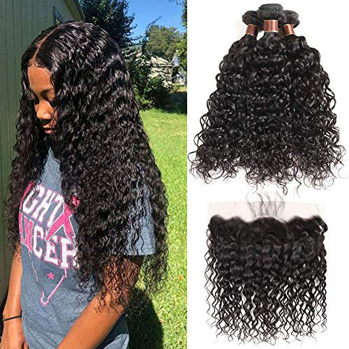 Brazilian Water Wave Bundles with Frontal(14 16 18+12)100% Virgin Human Hair Wet Wave Bundles With Frontal Lace Closure Unprocessed 8A+ Curly Hair Bundles with 13×4 Ear to Ear Frontal Natural Color (Best Curly Bundle Hair)