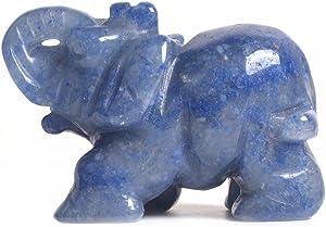 Justinstones Gemstone Elephant Blue Aventurine Crystal Animal Totem Spirit Stone Figurine 2 inch