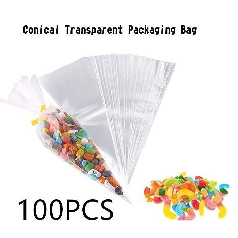 Amazon.com: Bolsas de regalo transparentes en forma cónica ...