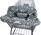 Heather and Heath 2-1 Premium Grocery Shopping Cart Cover and High Chair Cover, Universal Fit, Ultra Plush, 100% Cotton Upper, Full Seat Harness (Grey)