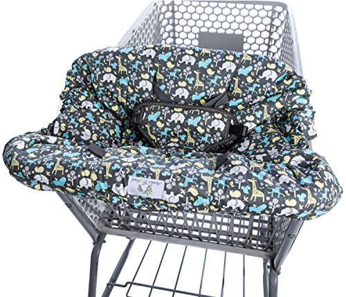 Upper Harness - 2-in-1 Shopping Cart Cover and High Chair Cover, Universal Fit, Ultra Plush, 100 Percent Cotton Upper, Full Safety Harness, Machine Washable for Baby, Toddler, Boy or Girl (Grey)