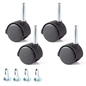 """Skelang 4 Pcs 1.5"""" Grip Neck Caster Stem Diameter 5/16"""", Swivel Stem Caster Wheel with Brake, Twin Wheel Replacement for Furniture Cabinet, Office Chair, Kitchen Shelf, Total Load Capacity 220 Lbs"""