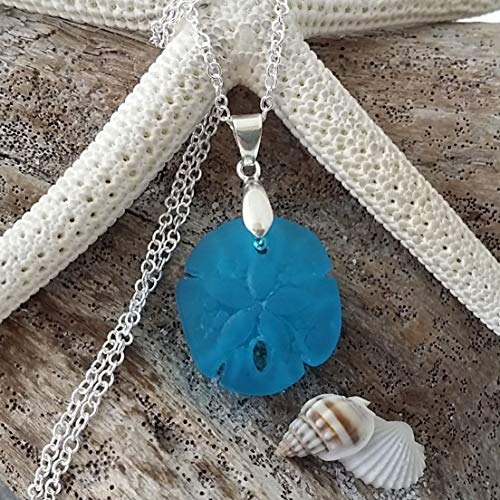 Handmade in Hawaii,deep ocean blue sand dollar sea glass necklace, sterling silver chain, Hawaiian Gift, FREE gift wrap, FREE gift message, FREE shipping