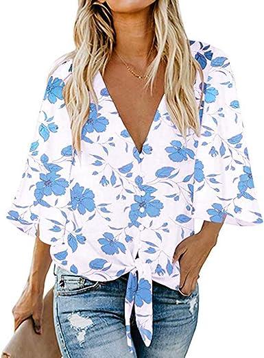 OPAKY Camisas Mujer Blusa Cuello V Manga Larga Classics Casuales Tops con Nudo de Corbata Blusas Mujer Camisa Larga Vestido Botón Tops Casual: Amazon.es: Ropa y accesorios