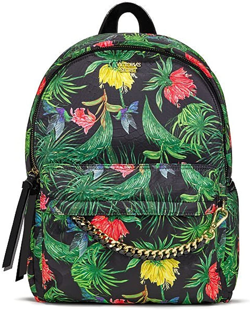 Victoria's Secret Hot Tropic City Backpack, Black Palm with Gold Chain