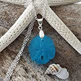 """Handmade in Hawaii,""""deep ocean blue"""" sand dollar sea glass necklace, sterling silver chain, Hawaiian Gift, FREE gift wrap, FREE gift message, FREE shipping"""