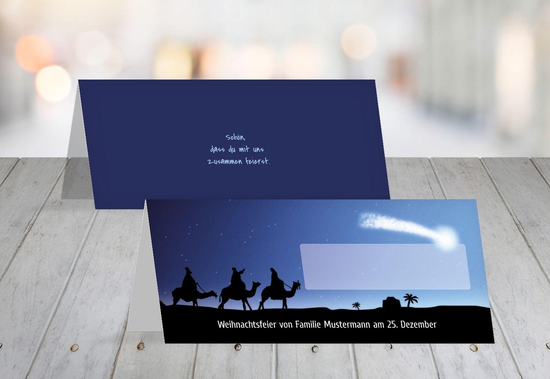 Kartenparadies Tischkarte Weihnachtstisch Tischkarte drei drei drei hl. Könige, hochwertige Platzkarte für die Weihnachtsfeier (Format  100x44 mm) Farbe  DunkelBlaumatt B01MT8JD1O | Gutes Design  | Modernes Design  | Guter Markt  a88bfe