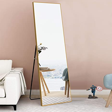 Marabell Home Volaris Floor Standing Mirror Silver Aluminum Frame with Stand 65x22 Inches