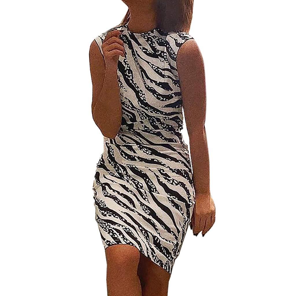Alangbudu Womens Summer Zebra Print Sleeveless Tunic Dress Casual Bodycon T-Shirt Dress White