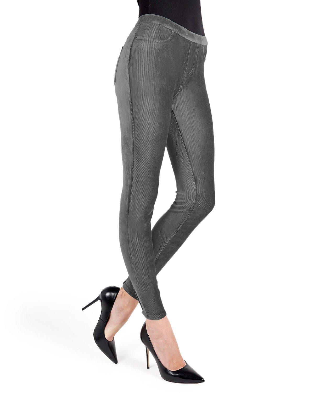 MeMoi Thin-Rib Stretch Corduroy Leggings   Women's Premium Leggings Gray MQ 001 Medium/Large