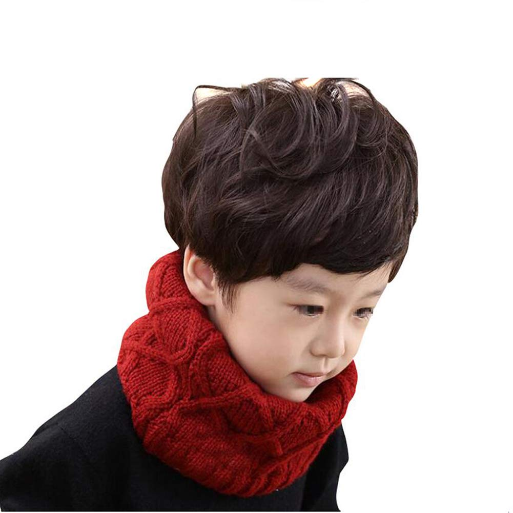 Upstore 1PCS Soft Unisex Kids Children Thicken Knitted Winter Warm Scarf Muffler Infant Boys Girls Collar Knit Infinity Circle Loop Scarf Neck Warmer Scarves Neckerchief for 2-10 Years Old
