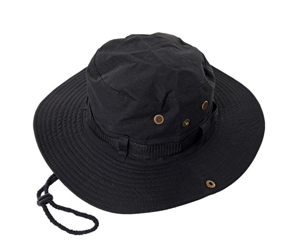GAMT Outdoor Rain Hats Folding Waterproof Hat UV Protection Bucket Cap Black