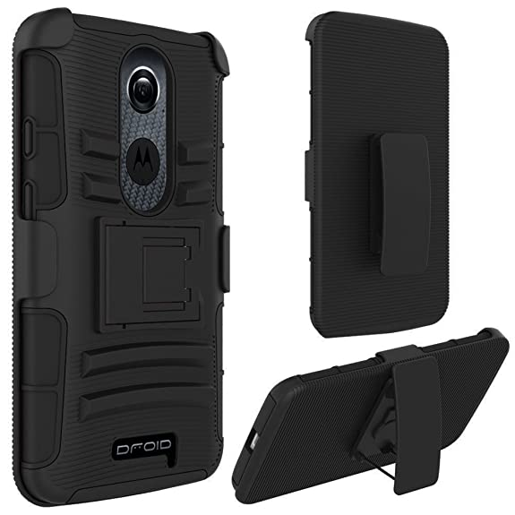 Motorola Droid Turbo 2 Case, Kuteck Heavy Duty Hybrid Armor Dual Layer Kickstand Belt Clip