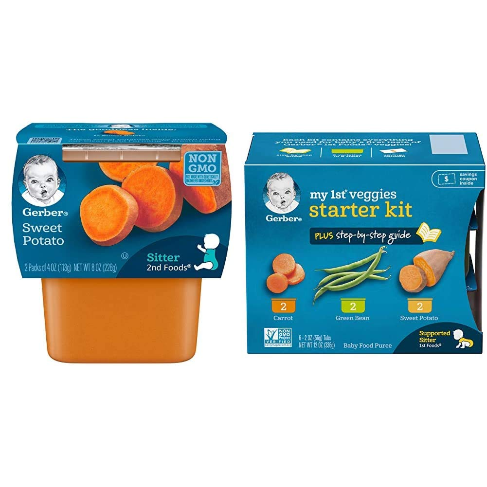 Gerber 2nd Foods Sweet Potatoes, 4 Ounce Tubs, 2 Count (Pack of 8) & Purees My 1st Vegetables, Box of 6 2 Ounce Tubs (Pack of 2)