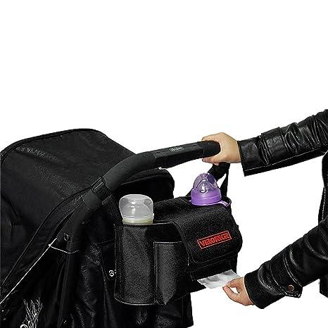LIBEYE Bolsa bolso carro bebe Organizador para cochecito de niño silla de paseo con bandolera extraíble Bolso de pañal multifuncional Botella bolsillo ...