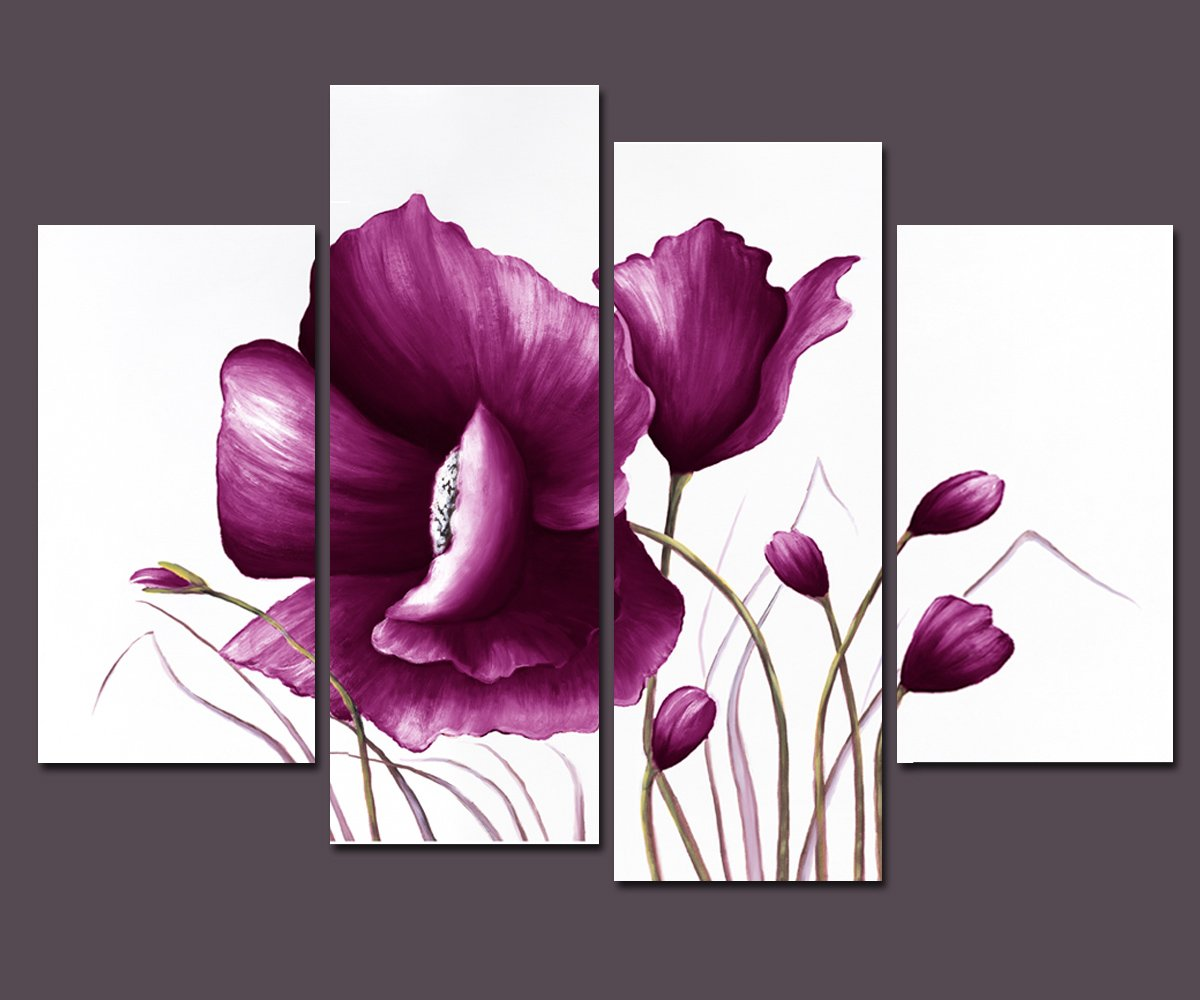 Amazon.com: Wieco Art - Large Purple Plum Flowers Modern Wrapped ...