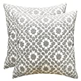 SLOW COW Cotton Embroidery Decorative Throw Pillow Covers, Grey Chains Design Cushion Covers Pillow Covers for Couch, 18x18 Inch.