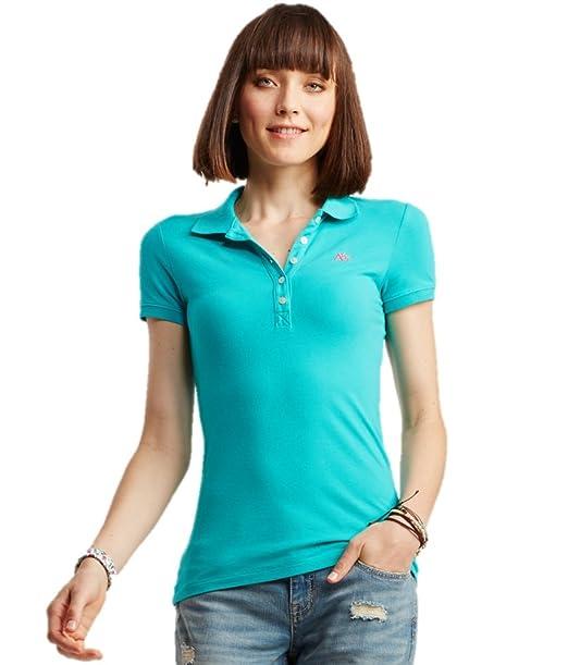 Aeropostale Women's Polo Shirt X-Small Lt Teal w Pink 110