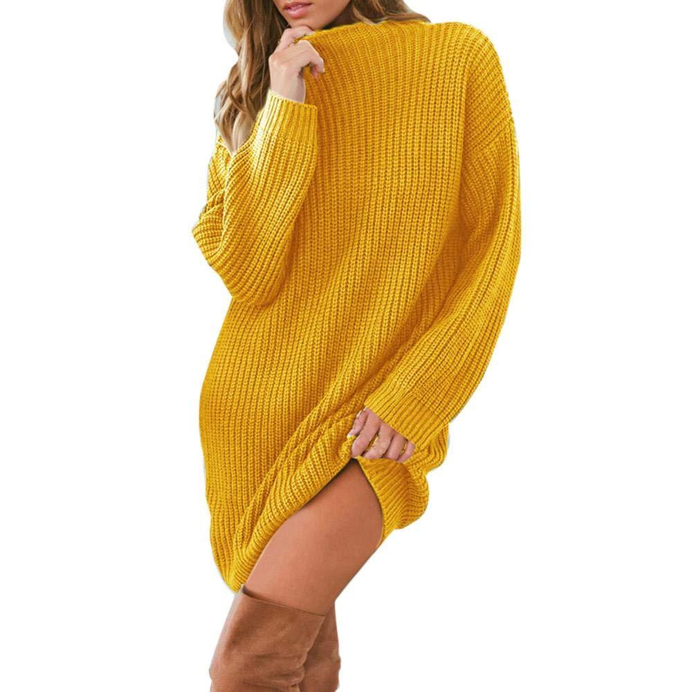 YEBIRAL Damen Pullover Kleider Elegante Strickkleid Casual Langarm Minikleid Winterkleider Tunika Kleid Strickpullover Lose Sweatkleid