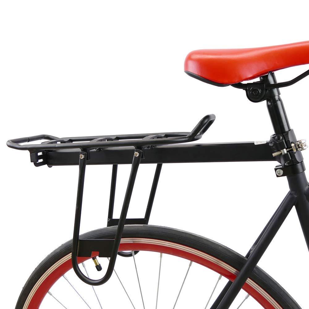 Portaequipajes met/álico trasero para bicicleta con barandilla de 38x14cm Cablematic